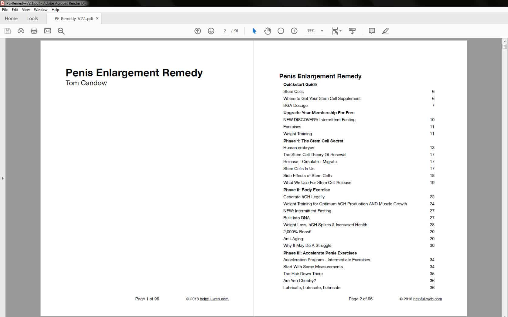 Penis Enlargement Remedy - Table of Contents Part 1