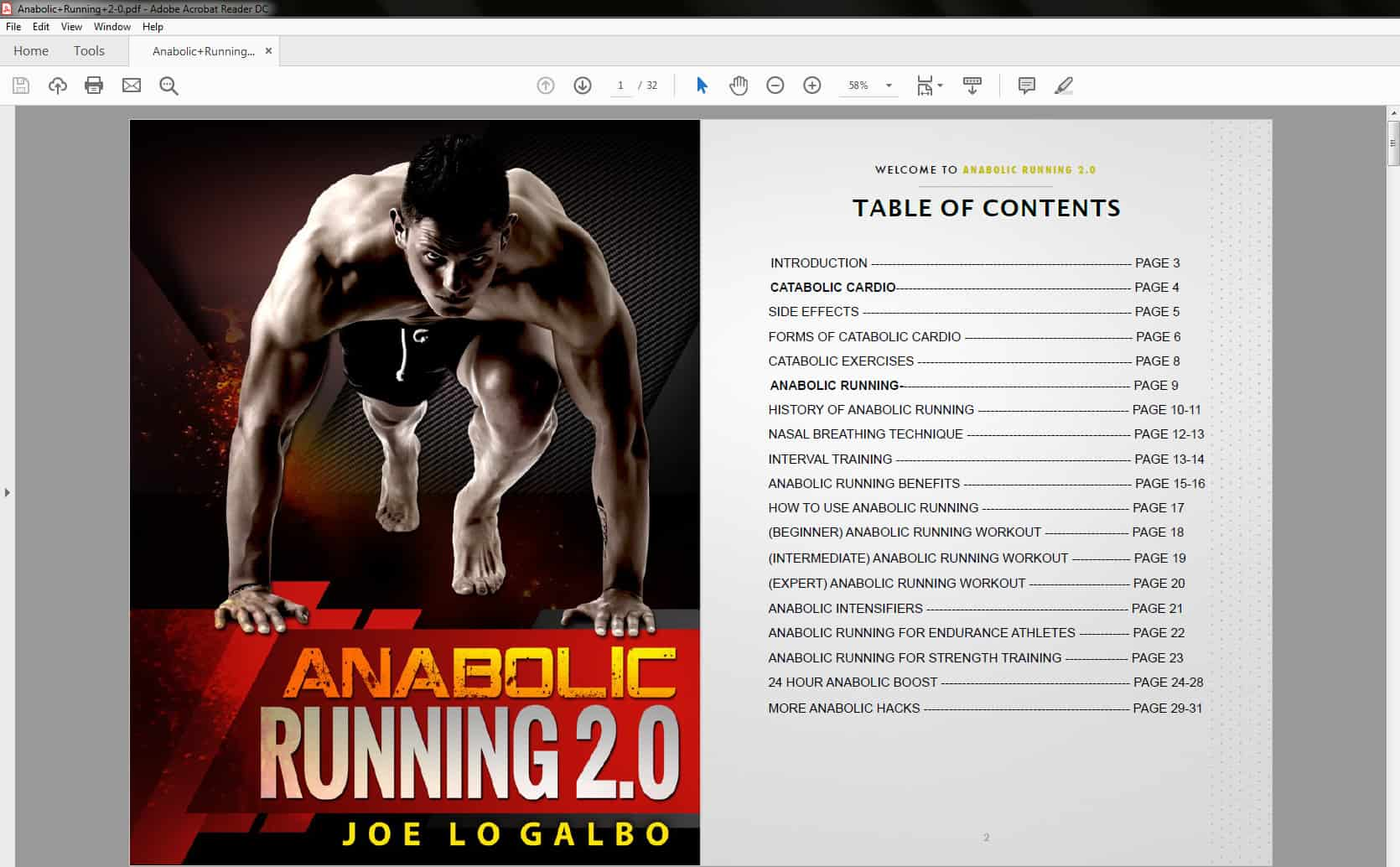 Anabolic Running 2 - Table of Contents