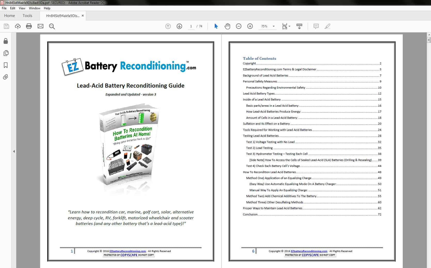 EZ Battery Reconditioning - Lead-Acid Battery - Table of Contents