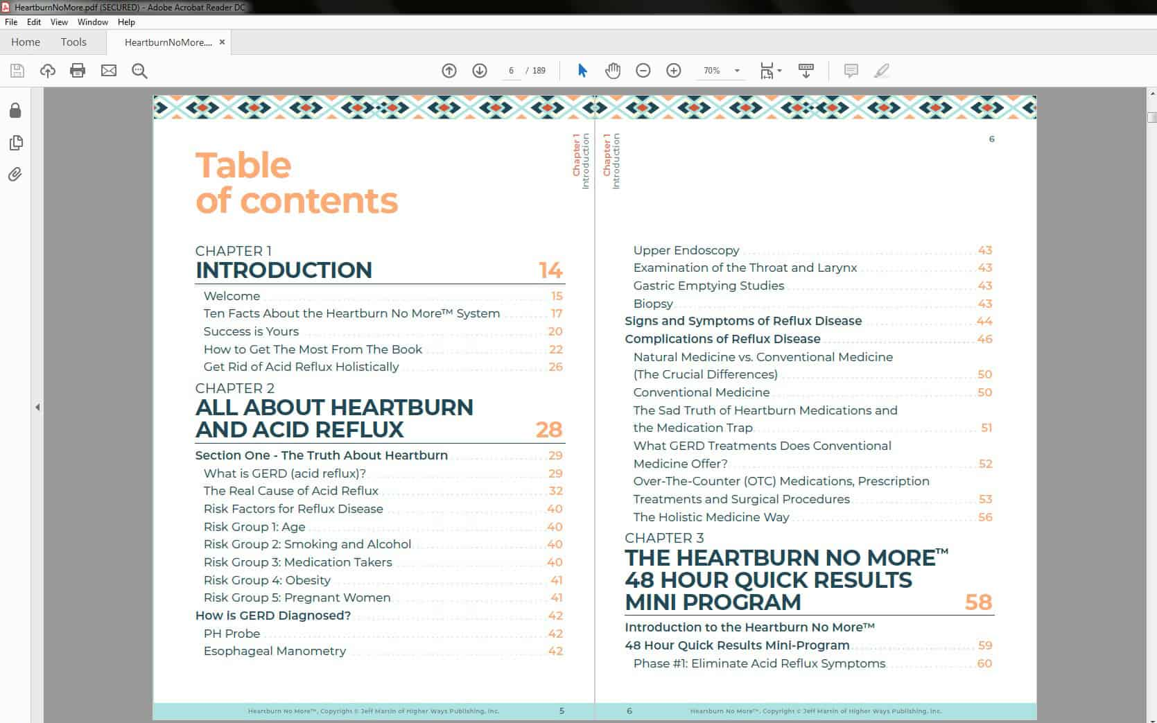 Heartburn No More - Table of Contents