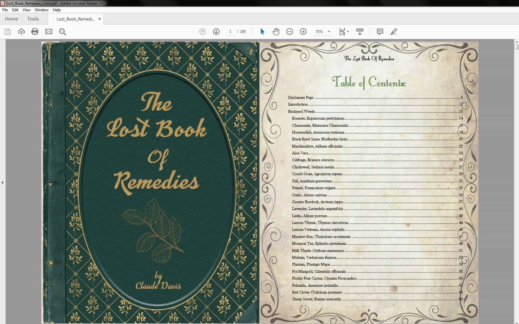 The Lost Book of Remedies - Table of Contents Part 1