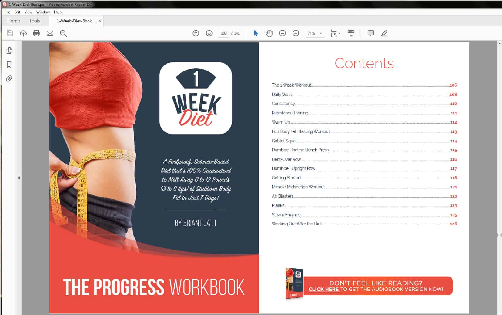 The Progress Workbook's Table of Contents