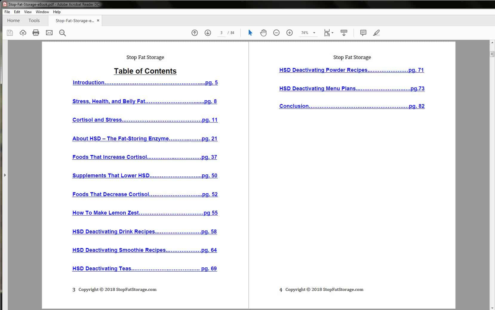 Stop Fat Storage Table of Contents
