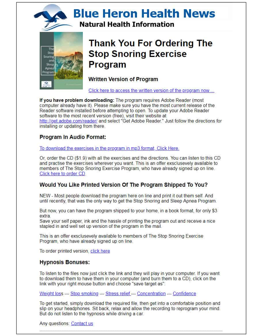 The Stop Snoring Exercise Program Download Page