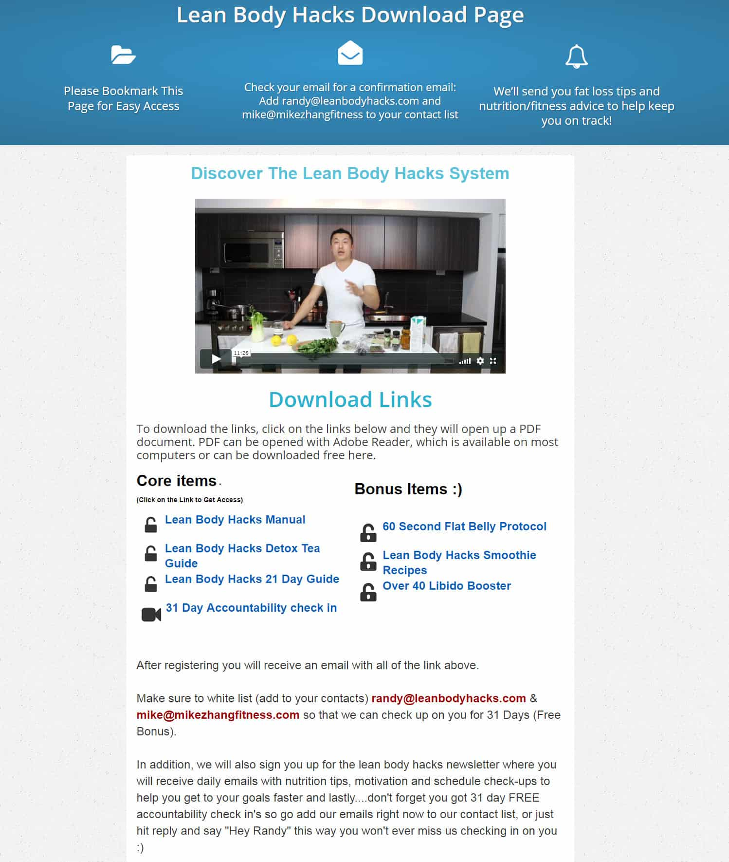 Lean Body Hacks Download Page