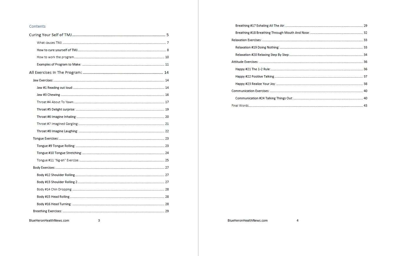 The TMJ Solution's Table of Contents