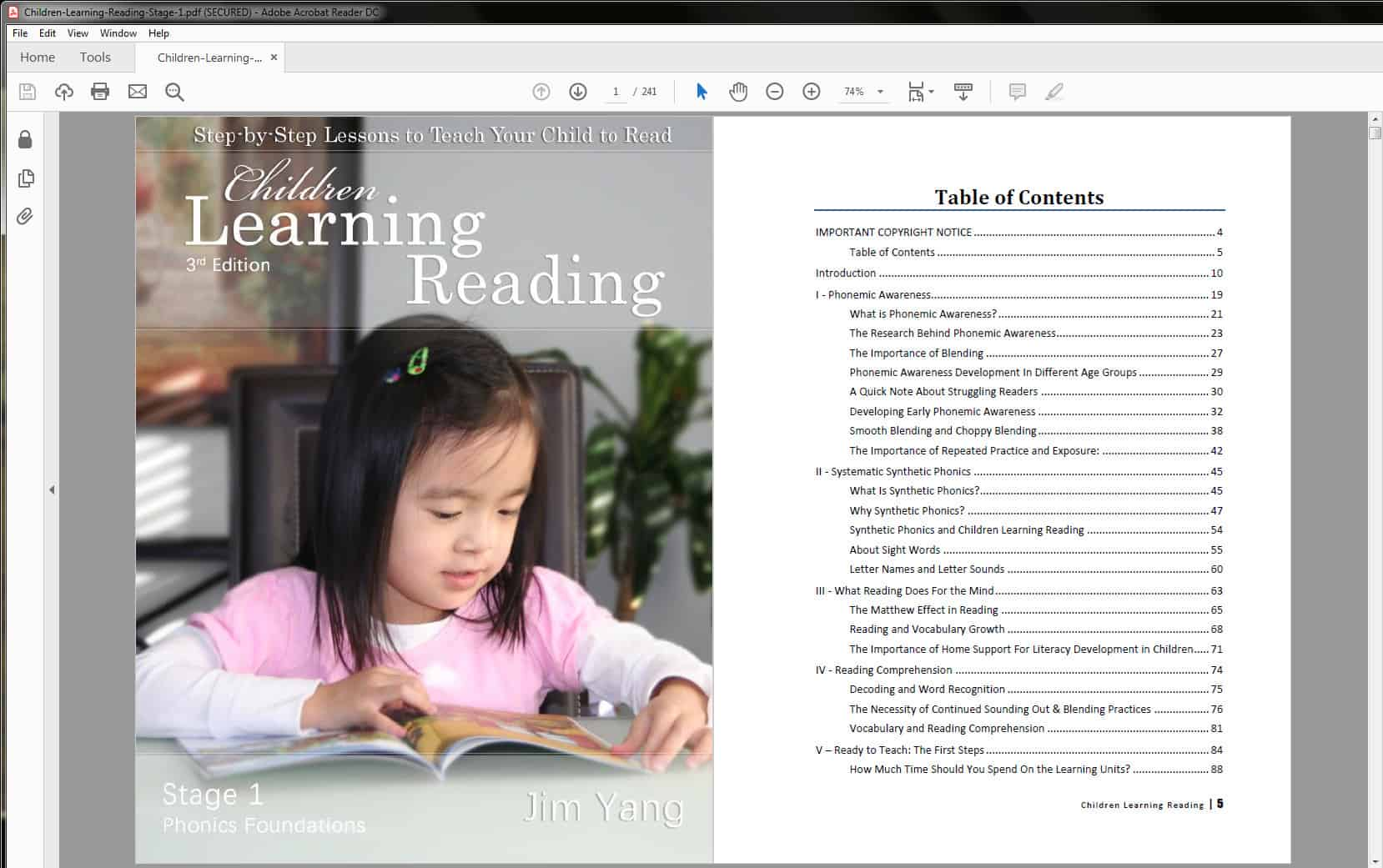 Children Learning Reading Table of Contents