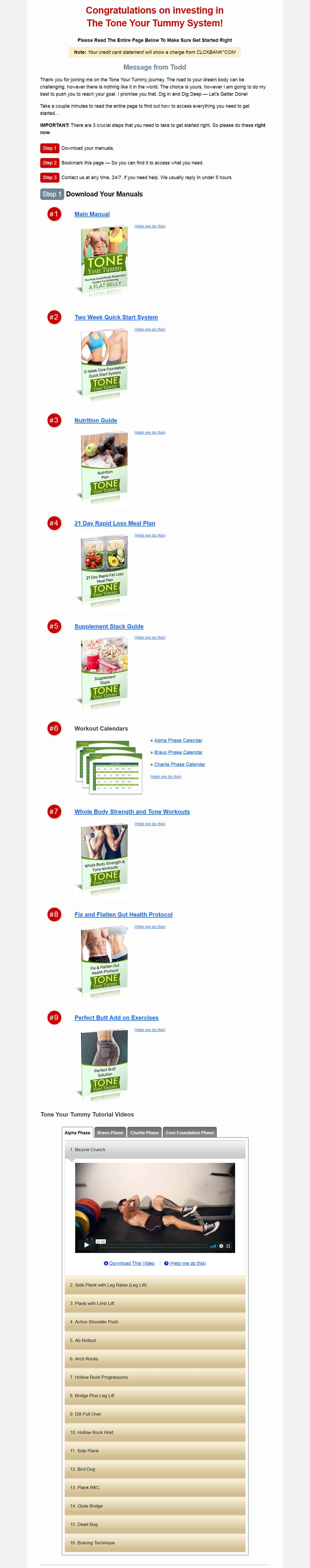 Tone Your Tummy Download PAge