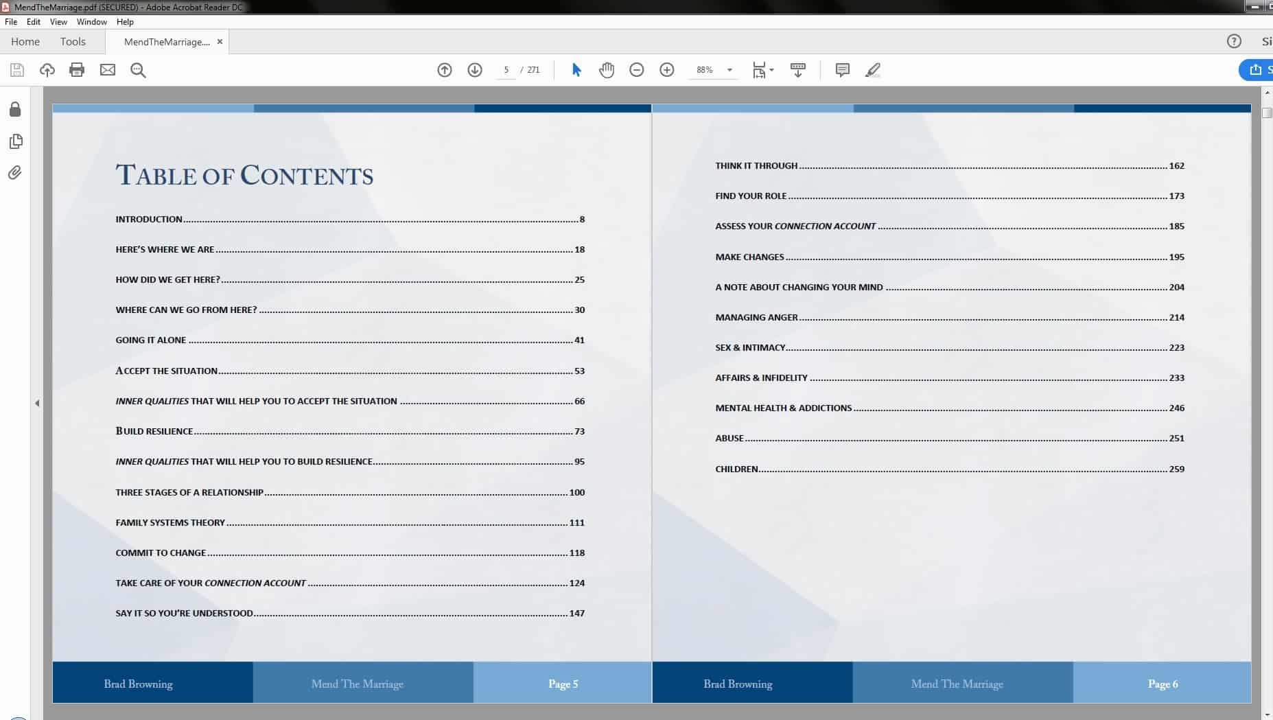Mend The Marriage System Table of Contents