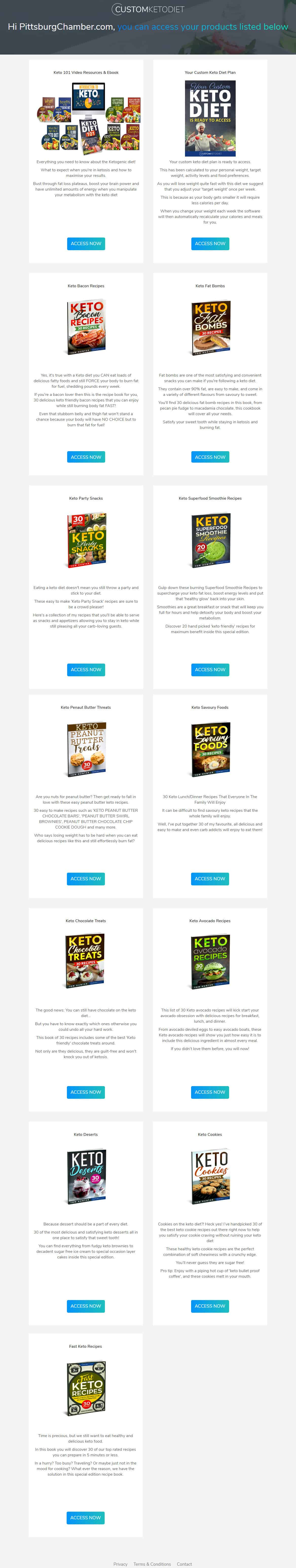 8 Week Custom Keto Diet Plan Download Page