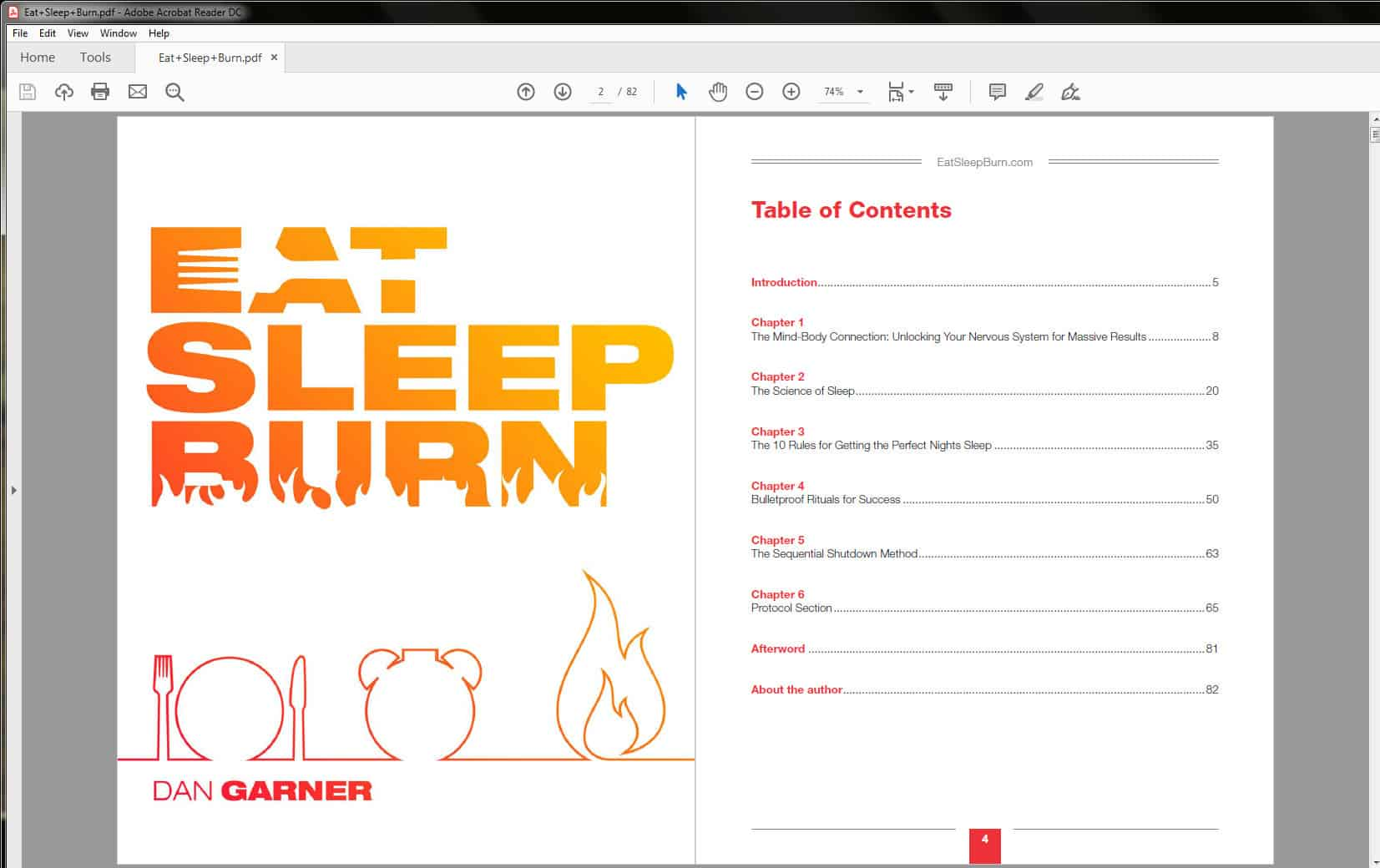 Eat Sleep Burn Table of Contents