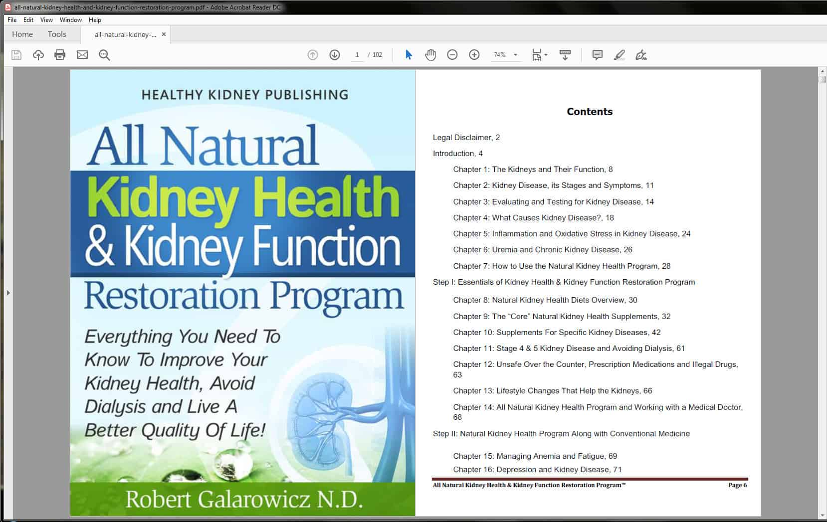 All Natural Kidney Health & Kidney Function Restoration Program table of contents