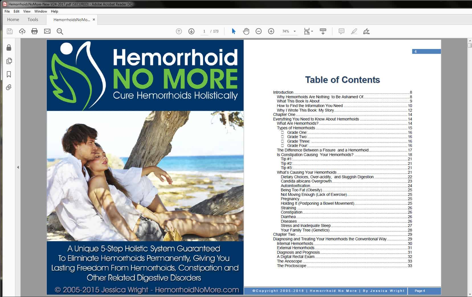 Hemorrhoid No More Table of Contents