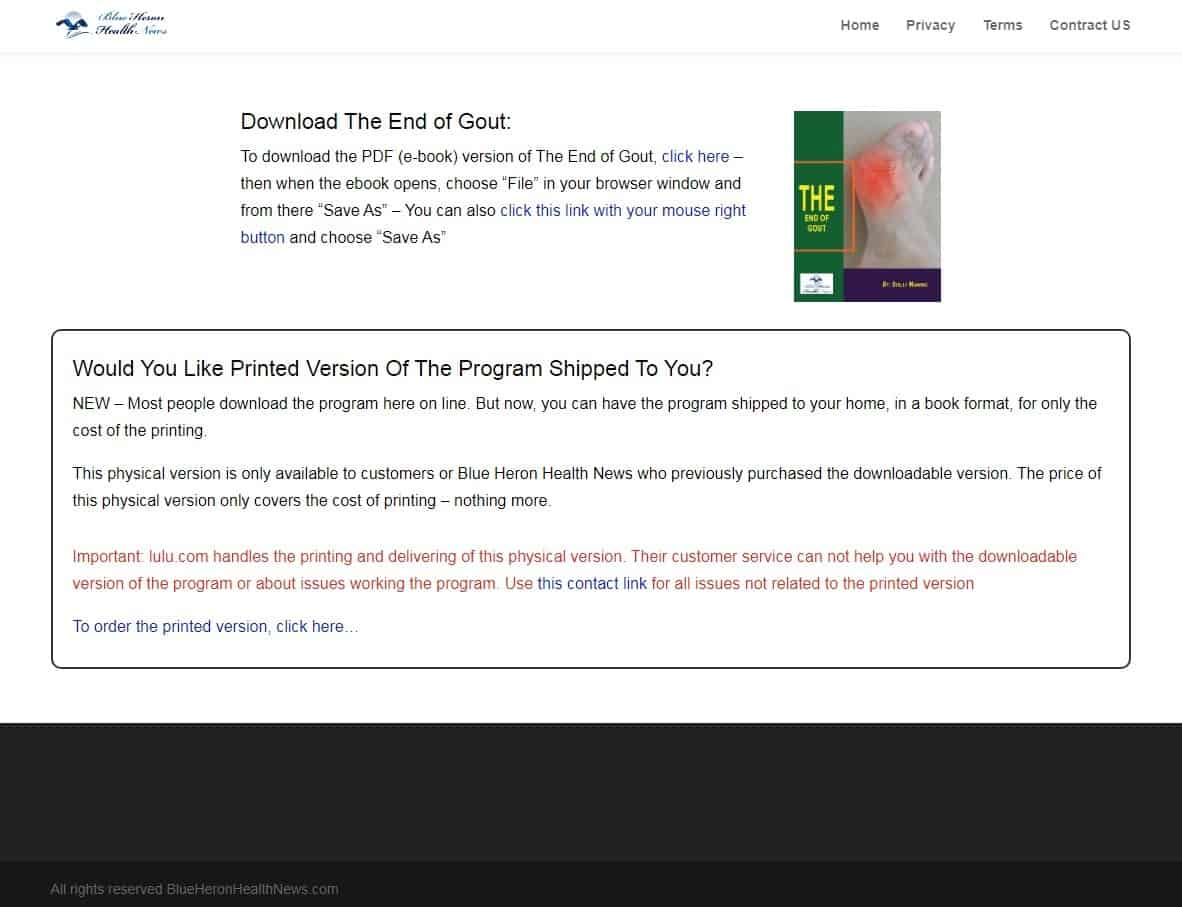 The End of Gout Download Page