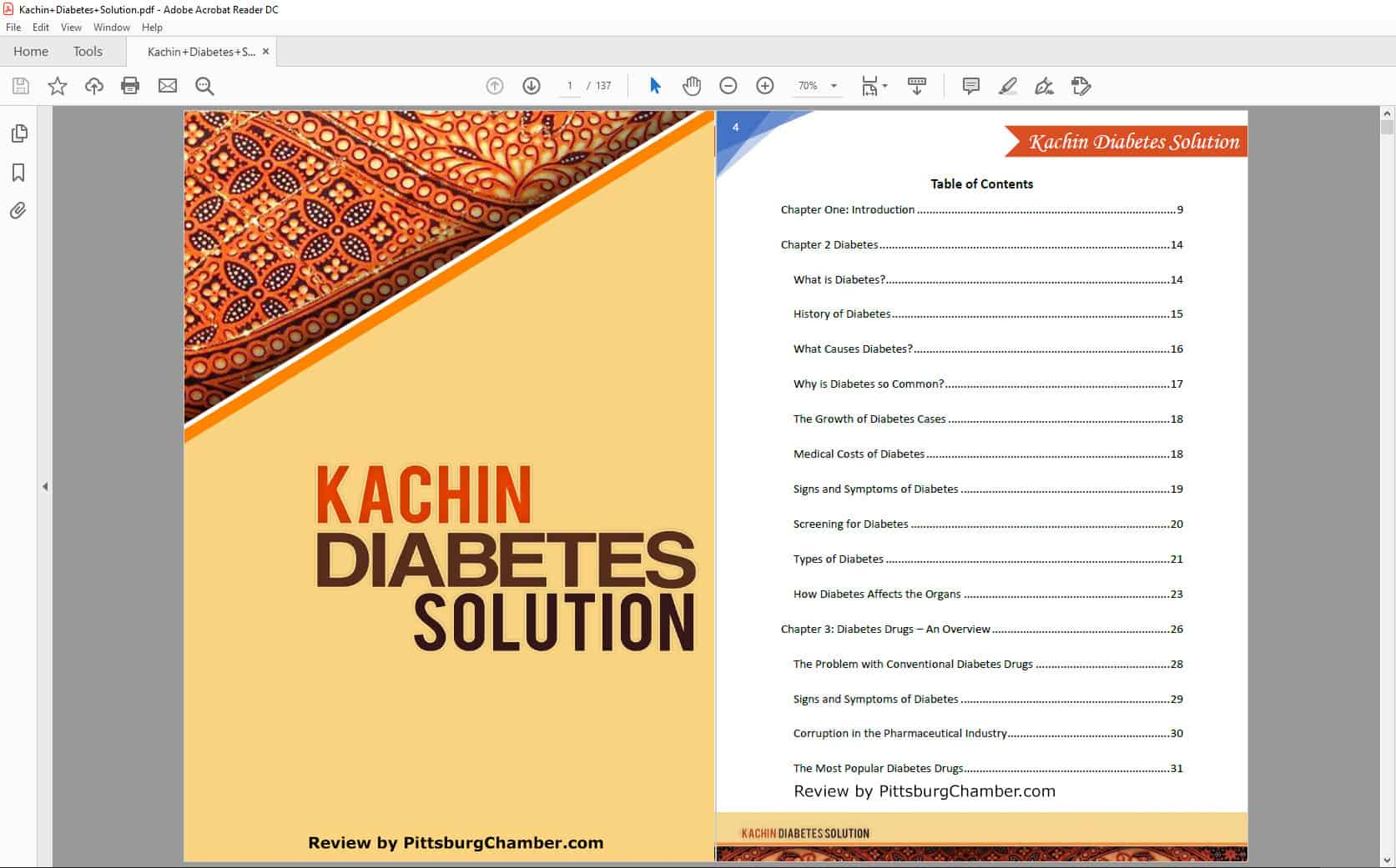 Kachin Diabetes Solution Table of Contents