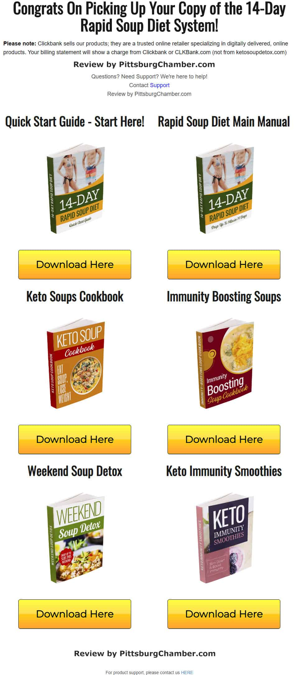 How the Download Page for 14-Day Rapid Soup Diet Looks Like!